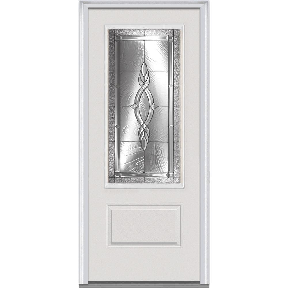MMI Door 36 in. x 80 in. Brentwood Right-Hand 3/4 Lite 1-Panel Classic Primed Fiberglass Smooth Prehung Front Door