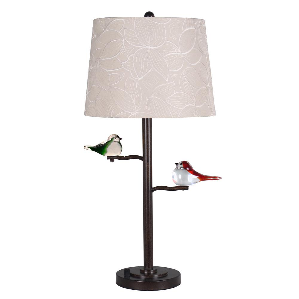 Springdale Lighting Finch 27.5 in Oil Rubbed Bronze Table Lamp with Fabric  Shade - Springdale Lighting Finch 27.5 In Oil Rubbed Bronze Table Lamp