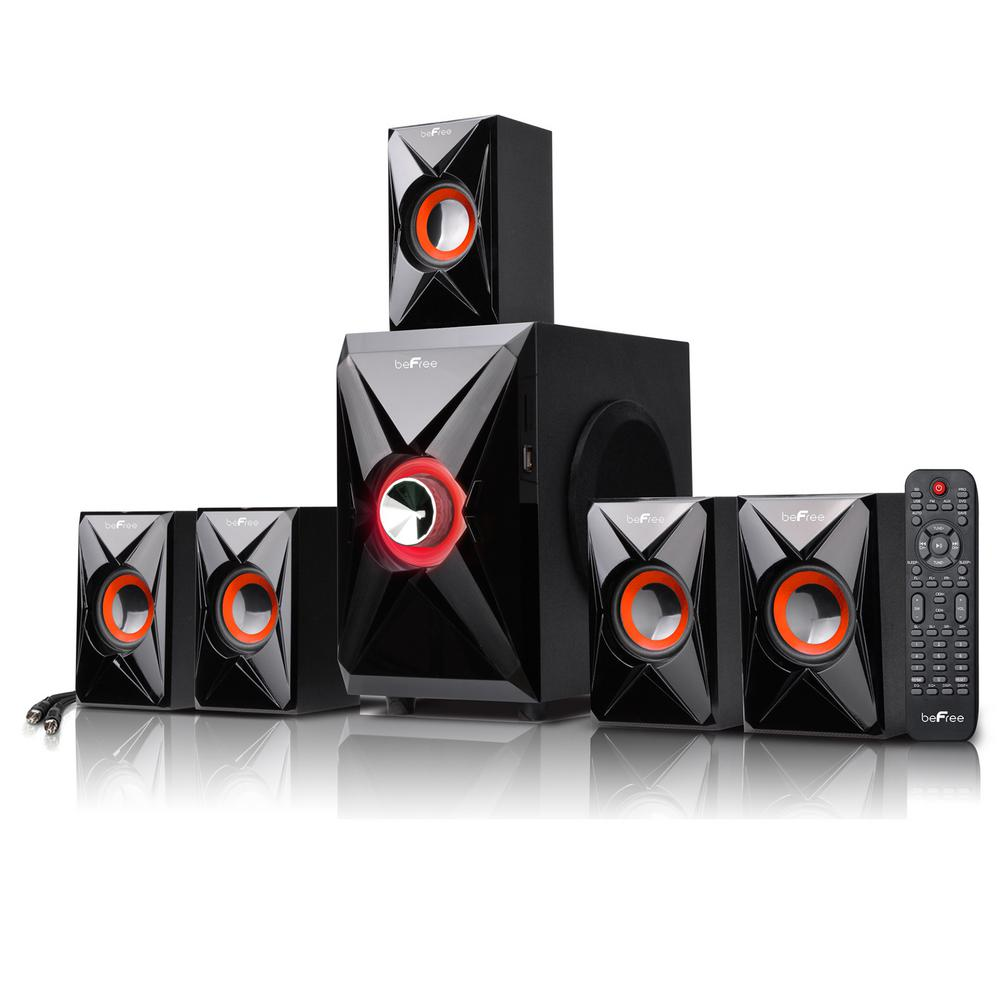 5.1-Channel Surround Sound Bluetooth Speaker System in Orange
