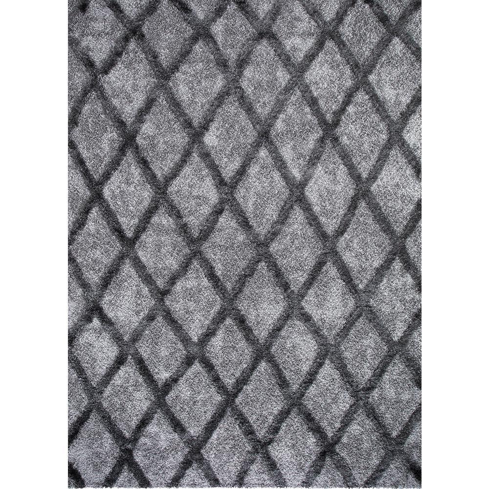 Valencia Gray Shag 9 ft. x 13 ft. Trellis Shag Area Rug