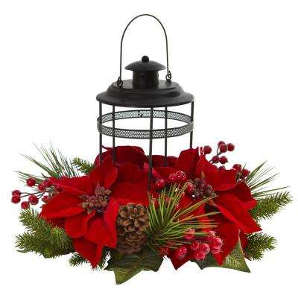 Poinsettia Berry Pine Artificial Arrangement Candelabrum