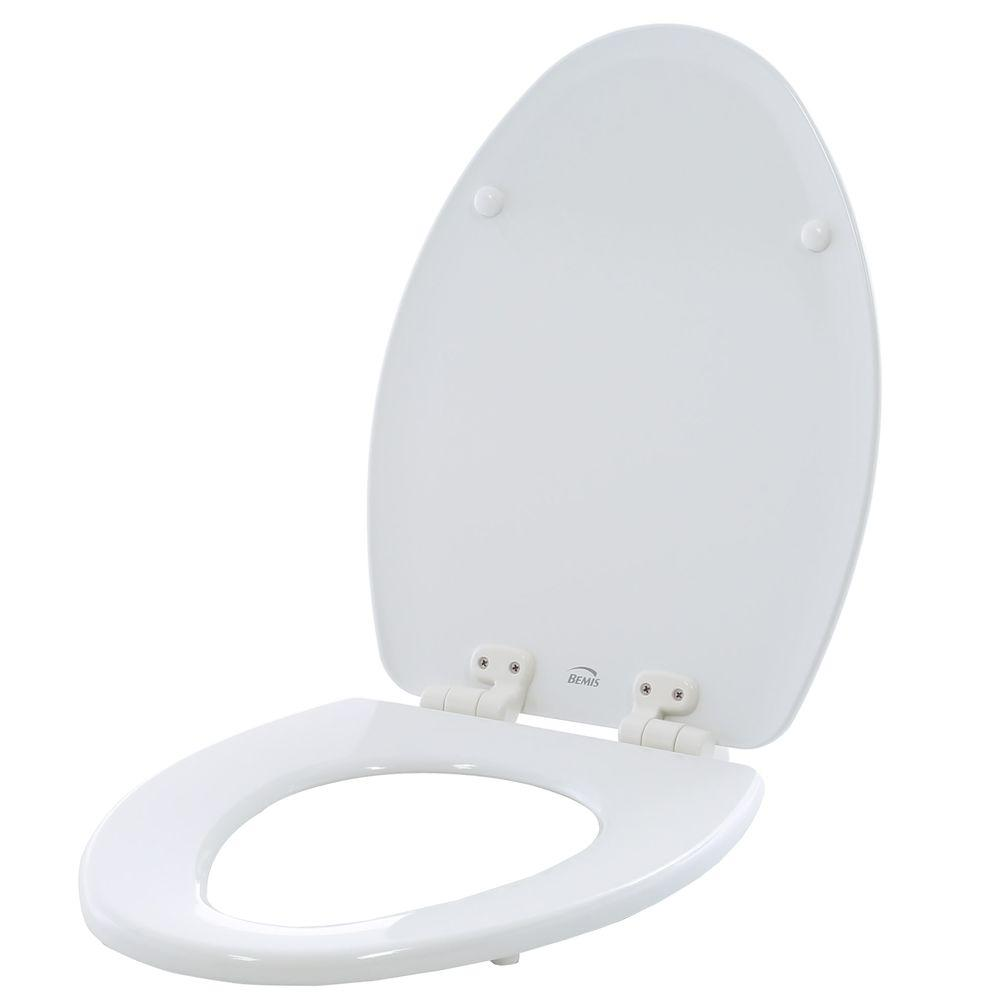 BEMIS Adjustable Slow Close Never Loosens Elongated Closed Front Toilet Seat in White