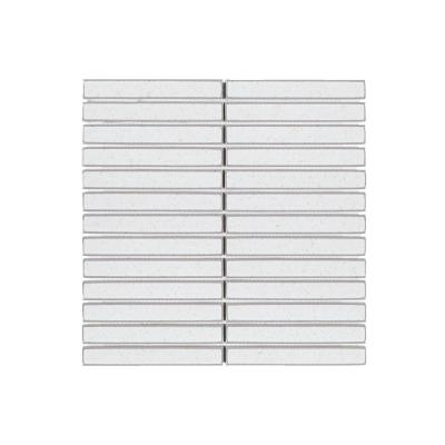 Oat Hill White 11.5 in. x 11.625 in. x 8 mm Linear Glossy Porcelain Mosaic Tile