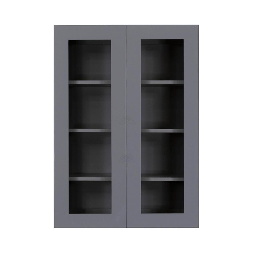 Lancaster Shaker Assembled 27x42x12 in. Wall Mullion Door Cabinet with 2-Door 3-Shelves in Gray