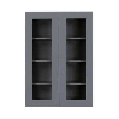Lancaster Shaker Assembled 36x42x12 in. Wall Mullion Door Cabinet with 2-Door 3-Shelves in Gray