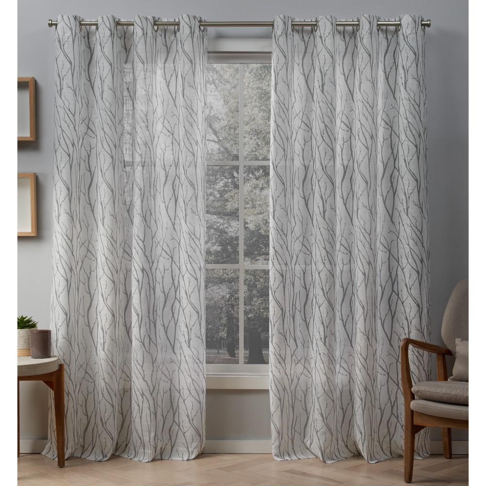 Oakdale 54 in. W x 108 in. L Sheer Grommet Top Curtain Panel in Dove Gray (2 Panels)