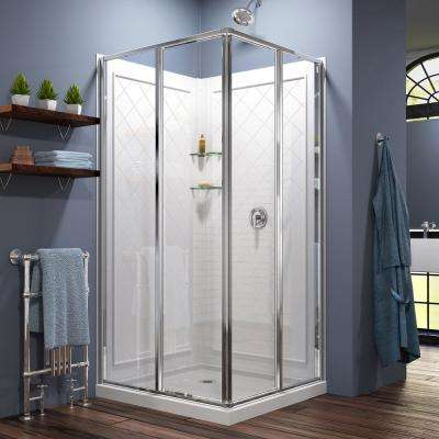 Cornerview 36x36x76.75 in. Framed Corner Sliding Shower Enclosure in Chrome with Acrylic Base and Back Walls Kit