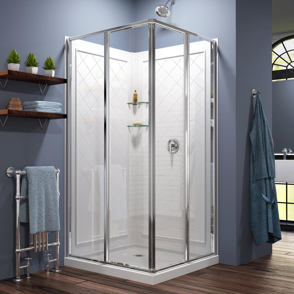 Dreamline Cornerview 36x36x76 75 In Framed Corner Sliding Shower Enclosure Chrome With Acrylic
