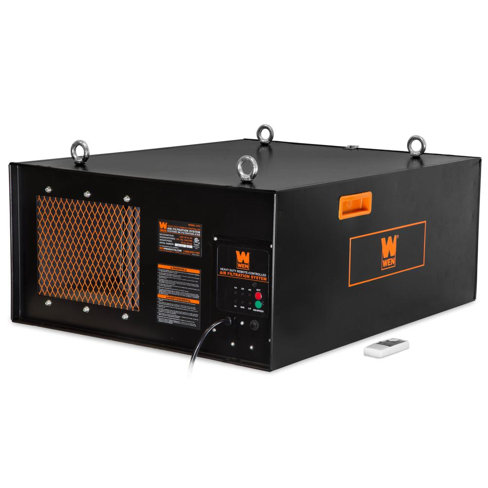 Wen 3 Speed Remote Controlled Industrial Strength Air Filtration System 556 702 1044 Cfm 3415t The Home Depot