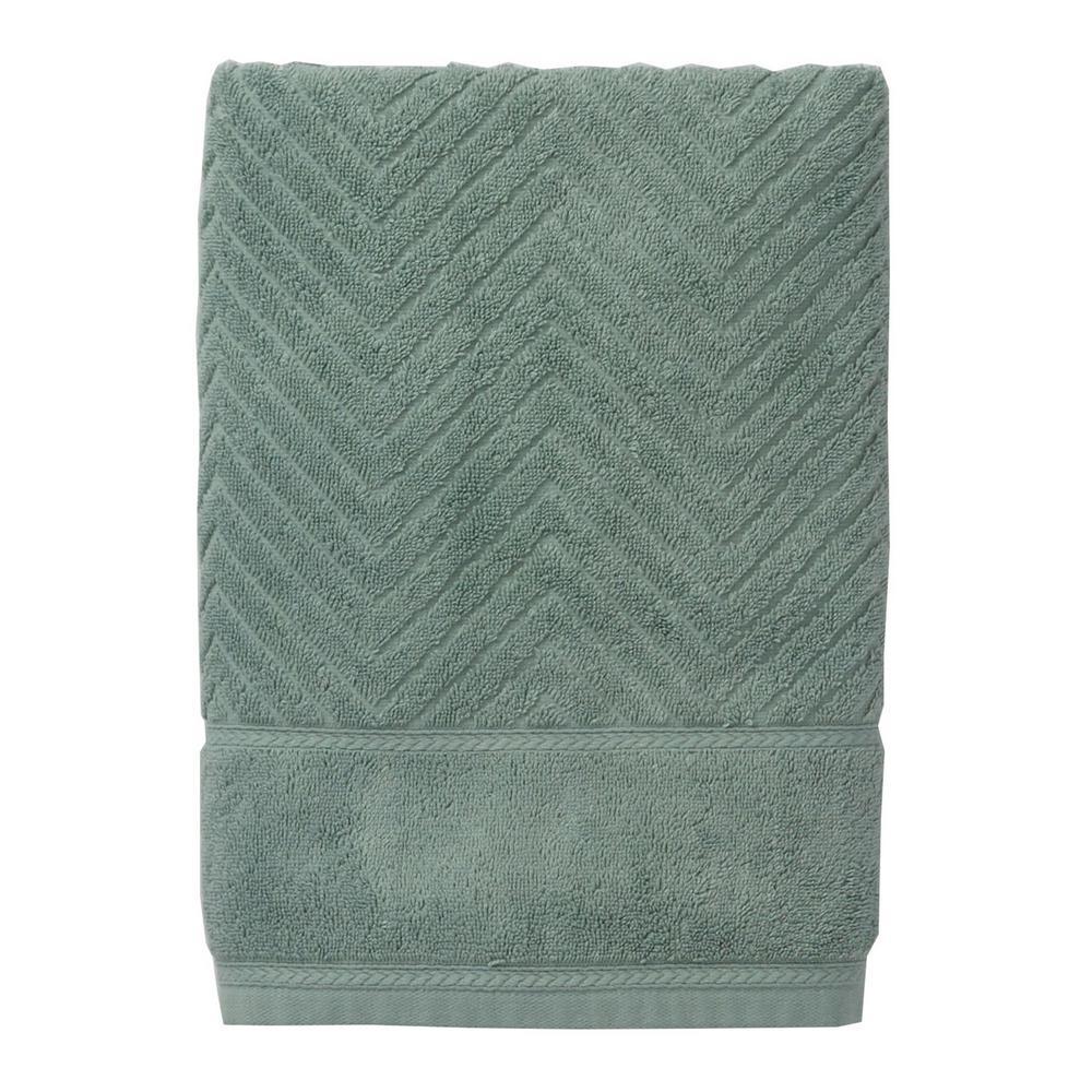 The Company Store Chevron Egyptian Cotton Single Bath Sheet in Spa