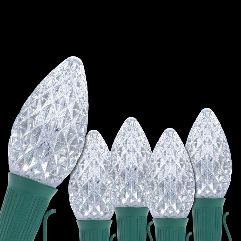 OptiCore 24 ft. 25-Light LED Cool White Faceted C7 String Light Set