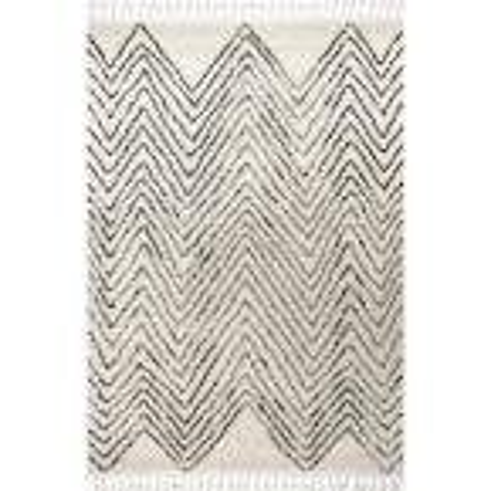 Amanda Moroccan Chevron Tassel Off-White 9 ft. x 12 ft. Area Rug