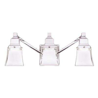Etonnant 3 Light Chrome Vanity Light With Etched Glass Shades