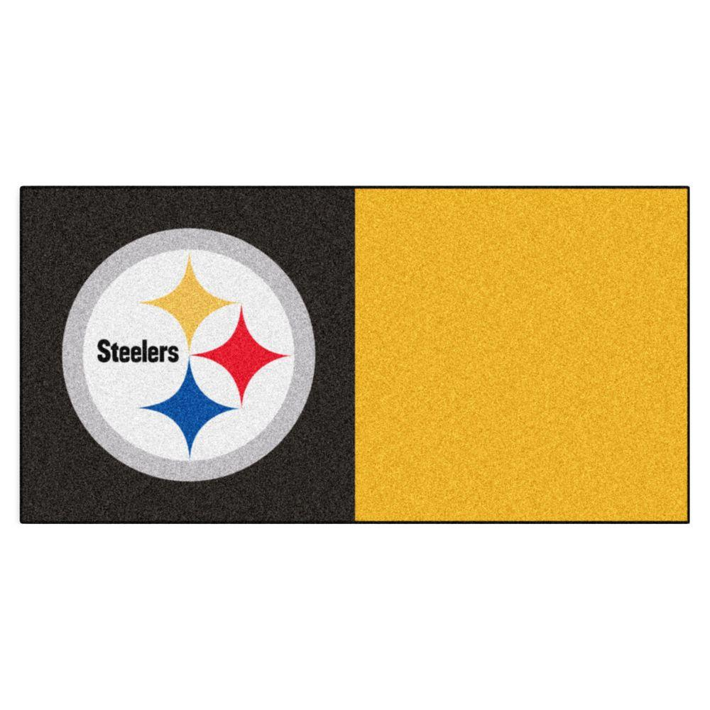 check out da24e d2ce4 FANMATS NFL - Pittsburgh Steelers Black and Yellow Nylon 18 in. x 18 in.  Carpet Tile (20 Tiles/Case)