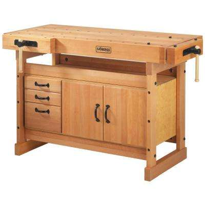 Scandi Plus 4 ft. x 9 in. Workbench with SM03 Storage Cabinet Combo Kit