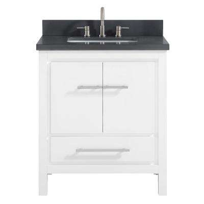 Riley 31 in. W x 22 in. D x 34.8 in. H Bath Vanity in White with Quartz Vanity Top in Gray with Basin