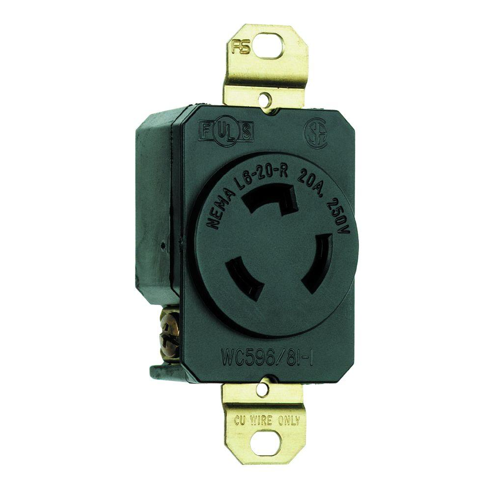 Legrand Pass & Seymour Turnlok 20 Amp Single Locking Outlet - Black