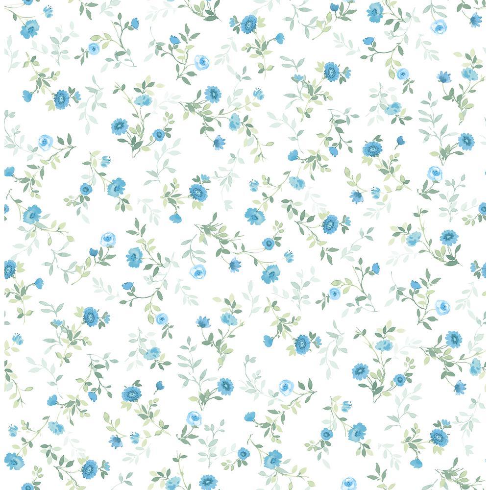 Catlett Blue Floral Toss Wallpaper