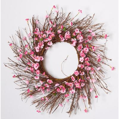 22 in. Cherry Blossom Wreath on Natural Twig Wreath