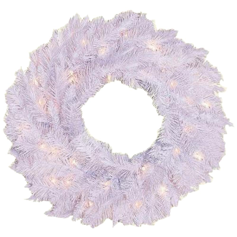 24 in. Pre-Lit Deluxe White Winter Fir Artificial Wreath with Clear