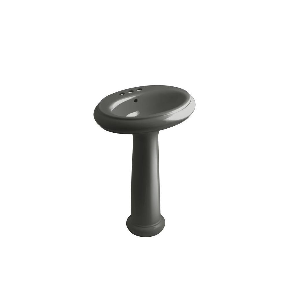 KOHLER Revival Pedestal Combo Bathroom Sink in Thunder Grey