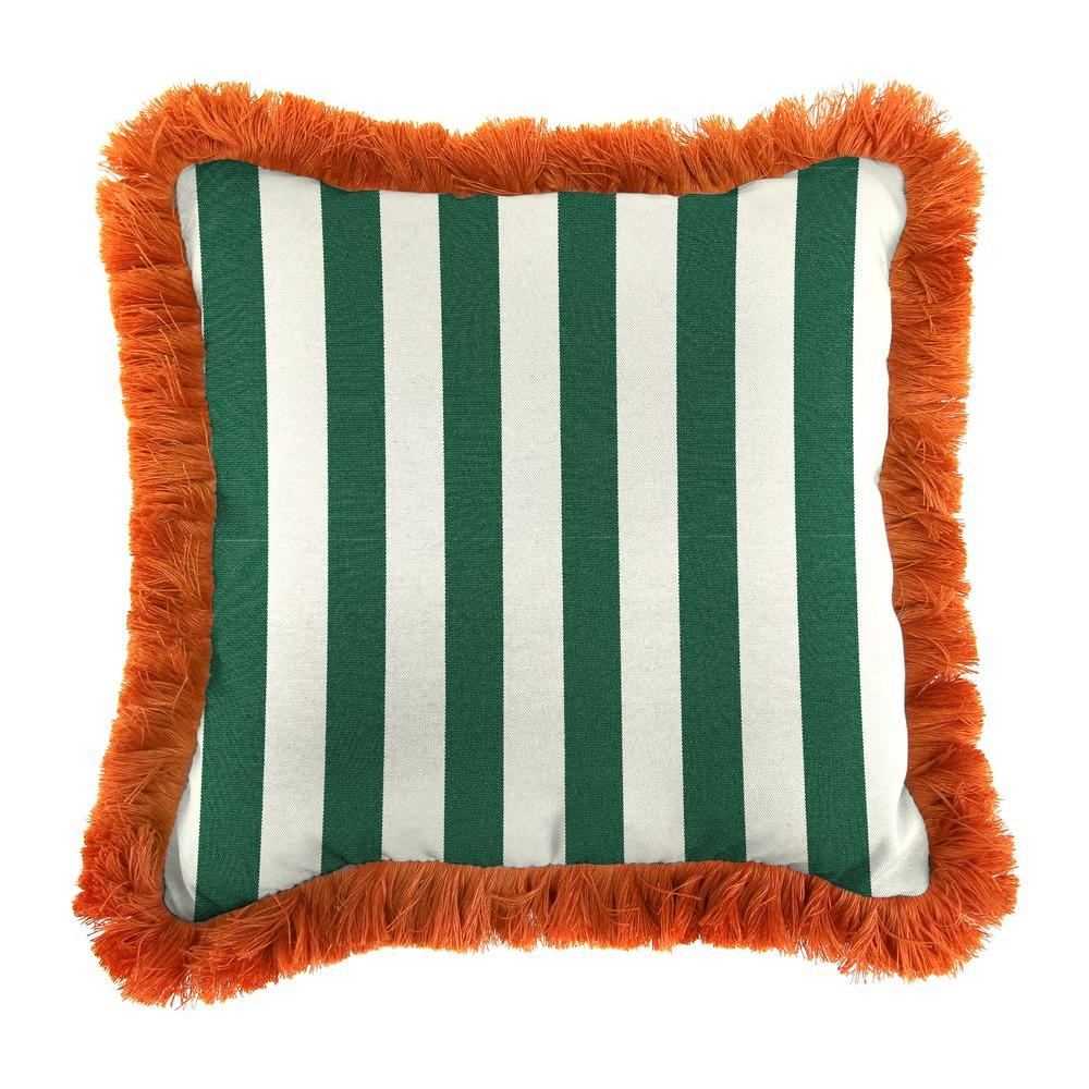 Sunbrella Mason Forest Green Square Outdoor Throw Pillow with Tuscan Fringe