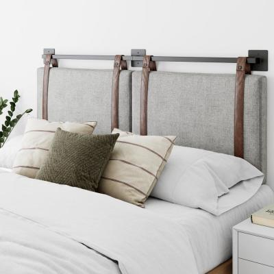 Harlow 62 in. Queen Wall Mount Gray Upholstered Headboard Adjustable Brown Straps and Black Metal Rail