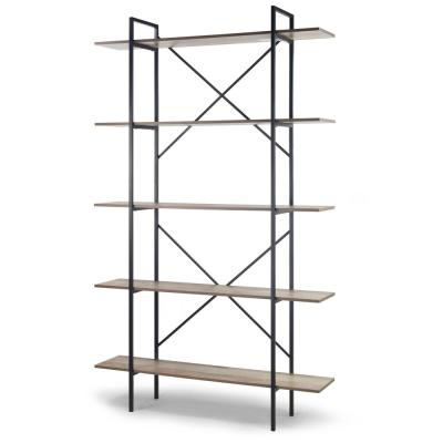 August 84.75 in. Light Brown Weathered Oak Particle Board 5- -Shelf Modern Etagere Bookcase with Metal Frame