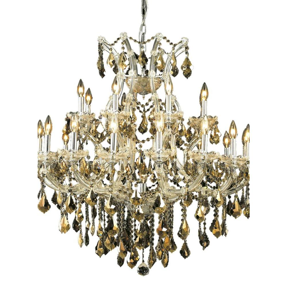 24-Light Chrome Chandelier with Golden Teak Smoky Crystal