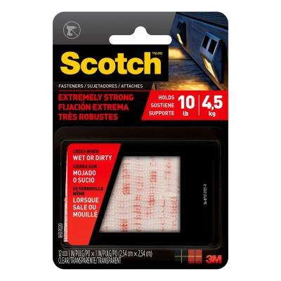 Scotch 1 in. x 1 in. Clear Extreme Fasteners (6 Sets-Pack)