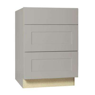 Shaker Assembled 24x34.5x24 in. Drawer Base Kitchen Cabinet with Ball-Bearing Drawer Glides in Dove Gray