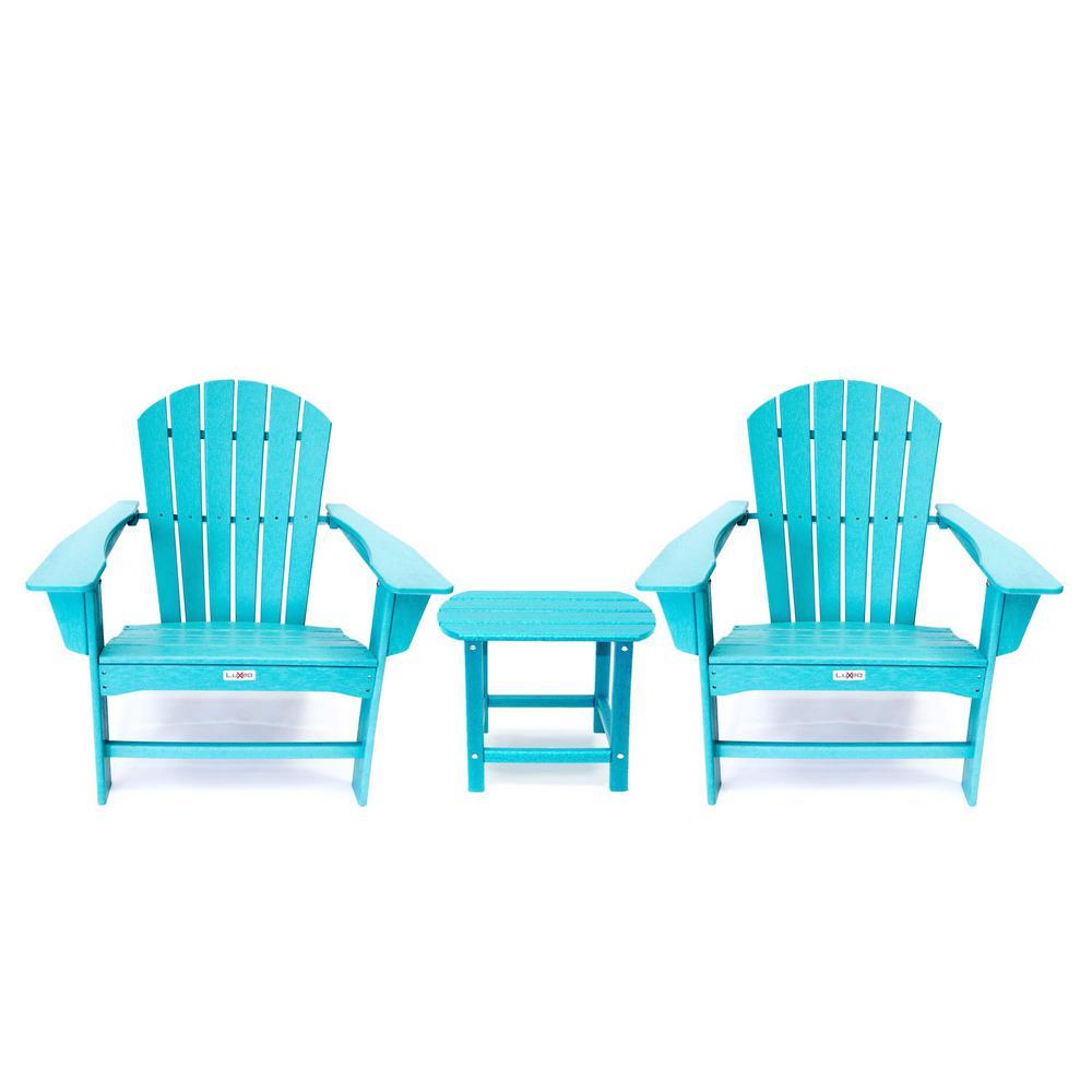 Hampton Aruba Blue Outdoor Patio Adirondack Chair and Table Set
