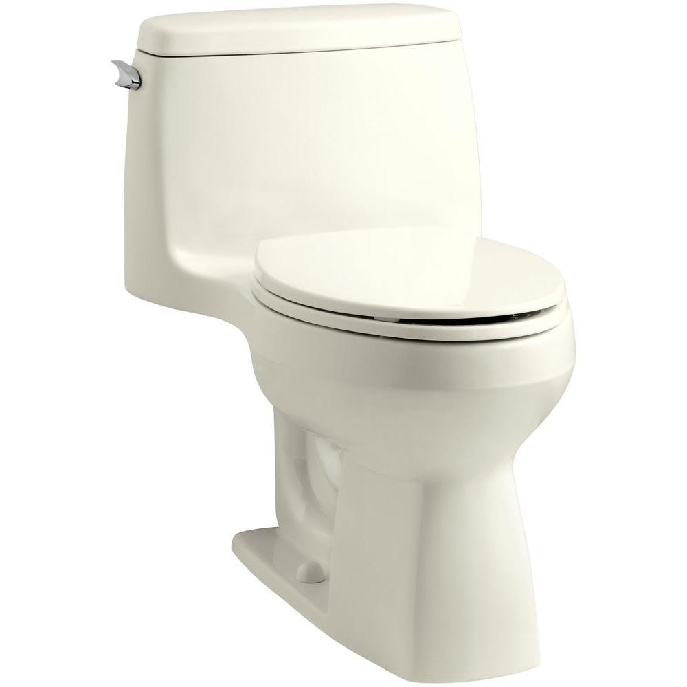 KOHLER Santa Rosa Comfort Height 1-Piece 1.6 GPF Single Flush Compact Elongated Toilet with AquaPiston Flush in Biscuit