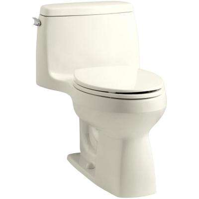 Santa Rosa Comfort Height 1-piece 1.6 GPF Single Flush Compact Elongated Toilet with AquaPiston Flush in Biscuit