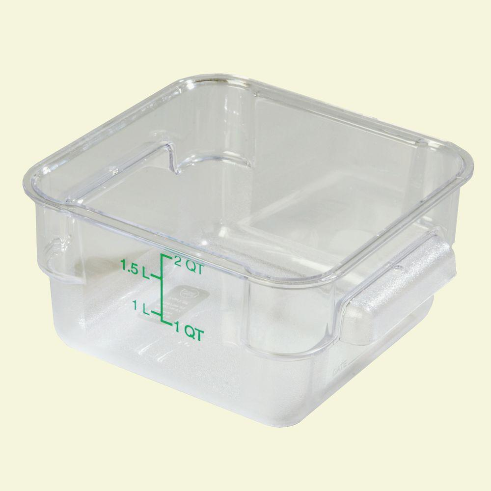 2 qt. Polycarbonate Square Food Storage Container in Clear, Lid not