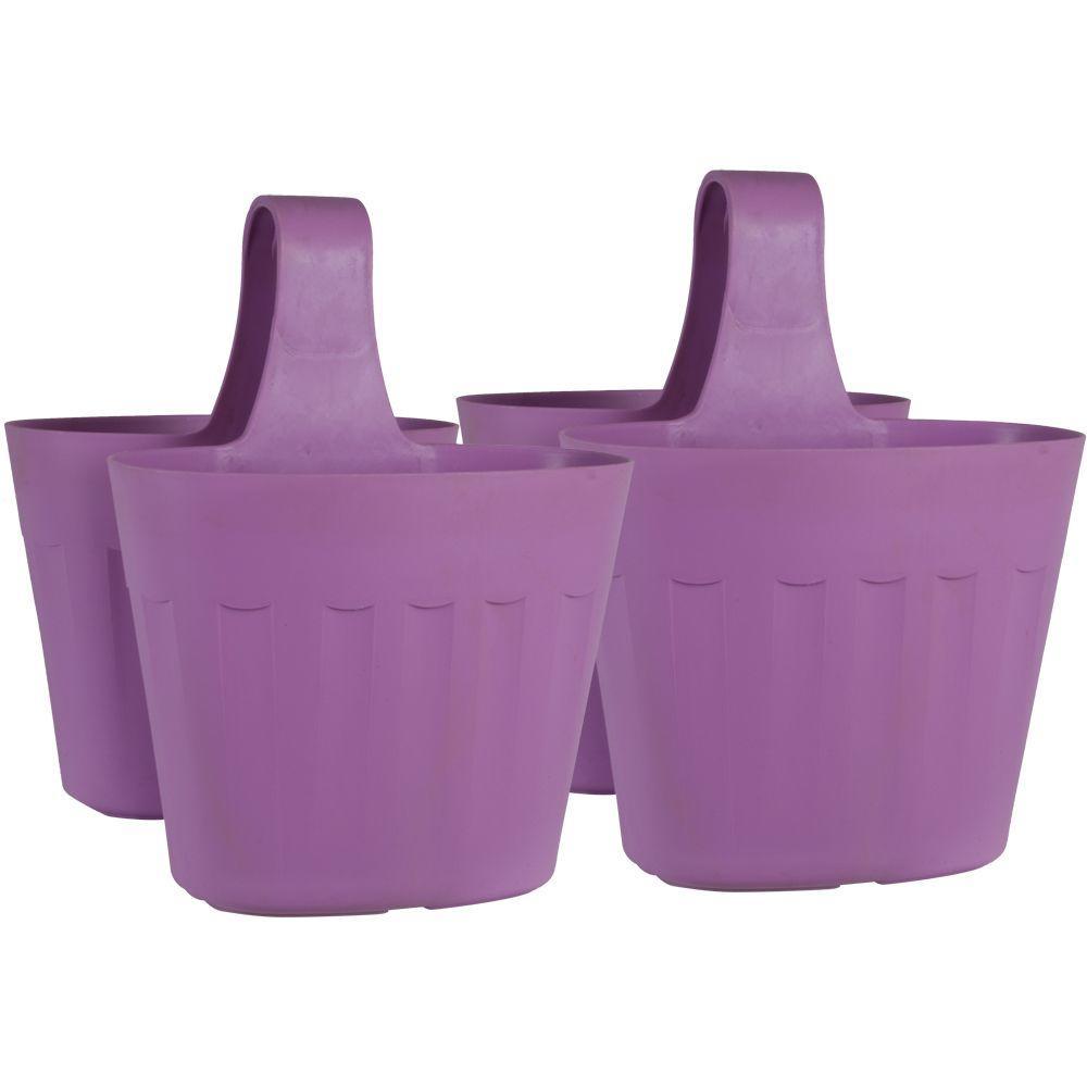 Mela 15 in. Lavender Plastic Saddlebag Rail Planter (2-Pack)