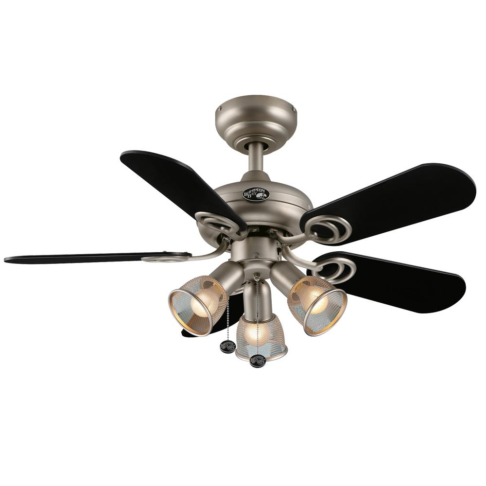 Hampton Bay San Marino 36 in. Indoor Brushed Steel Ceiling Fan with Light Kit
