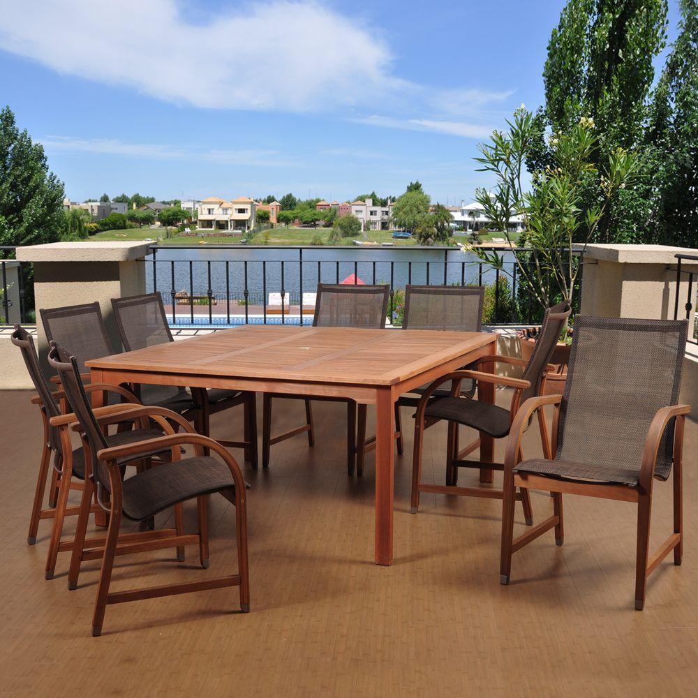 Bahamas 9-Piece Eucalyptus Square Patio Dining Set with Brown Sling Seat
