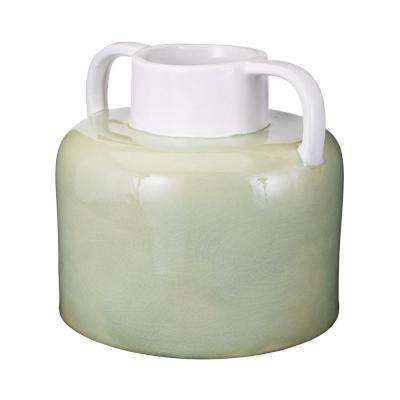 Spring Crackle 11 in. x 10 in. Earthenware Decorative Jug in Green and White