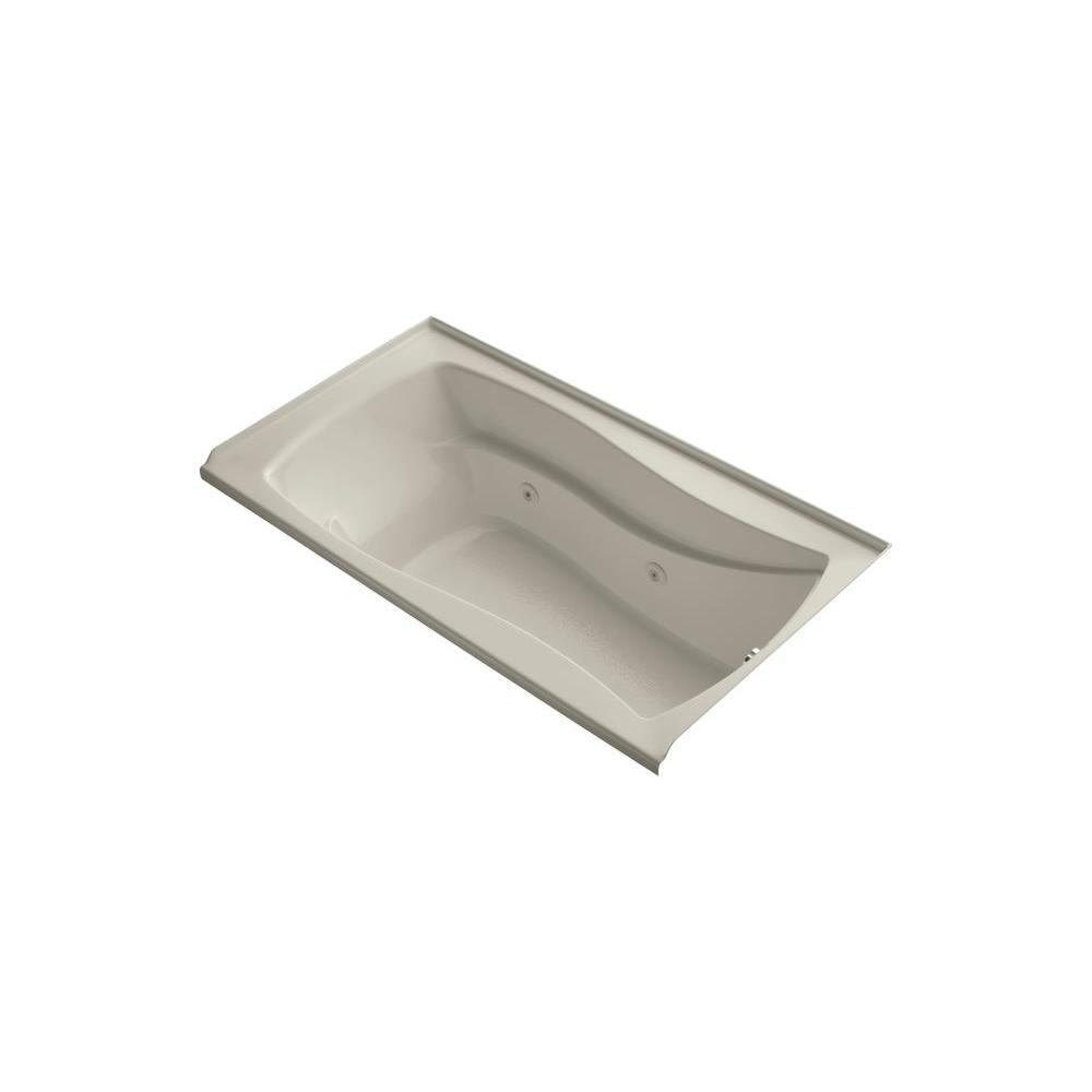 KOHLER Mariposa 5-1/2 ft. Acrylic Hourglass Rectangular Drop-in Whirlpool Bathtub in Sandbar