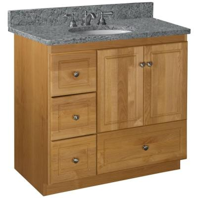 Ultraline 36 in. W x 21 in. D x 34.5 in. H Vanity Cabinet Only with Left Drawers in Natural Alder