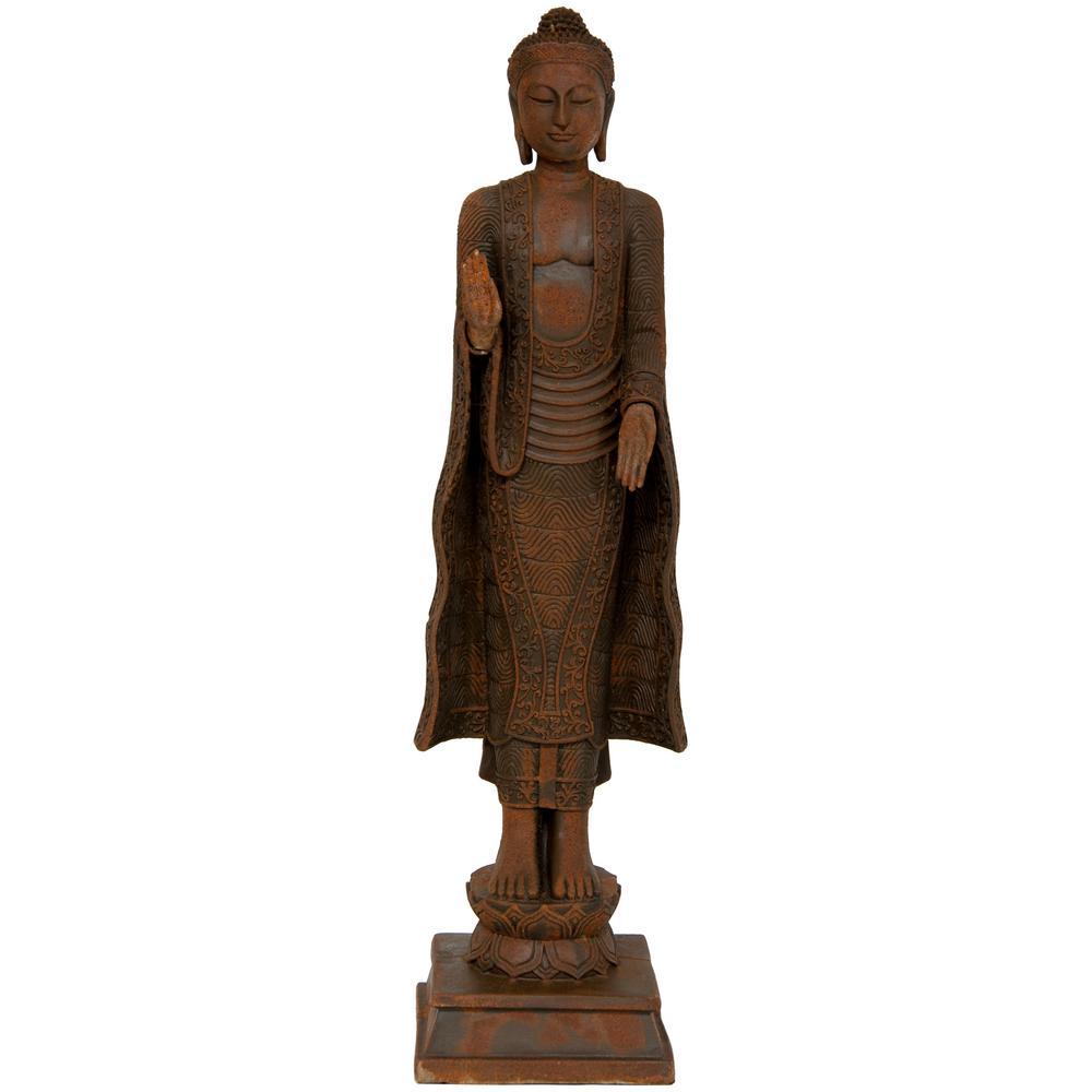 Oriental Furniture 21 in. Standing Semui-in Rust Patina Buddha Decorative Statue