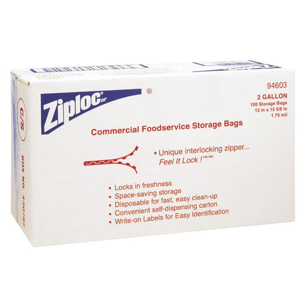 Ziploc Commercial Foodservice Storage Bags, 2 gal., 1.75 Mil, 13 in. x 15-5/8 in., Write-On Panel, 100 Per Case