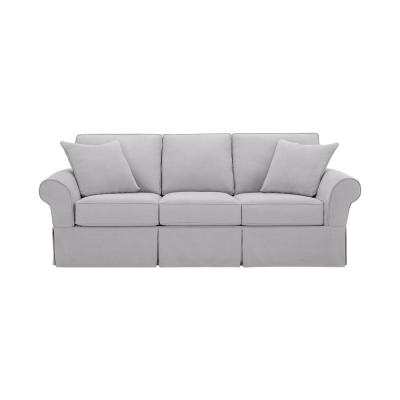 Hillbrook 87.5 in. Essence Sky Polyester 3-Seater Slipcovered Sofa with Removable Cushions