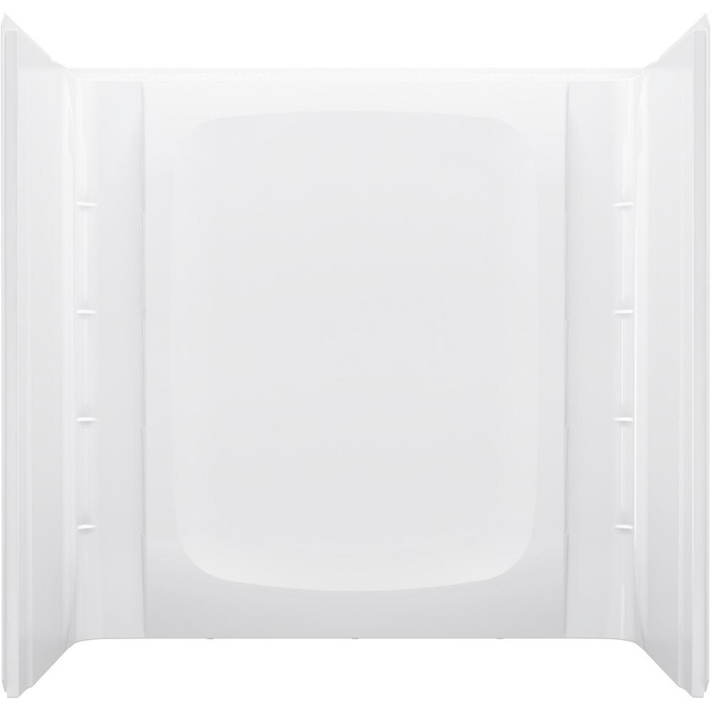 STORE+ 30 in. W x 60 in. H 3-Piece Direct-to-Stud Alcove Wall Surround in White