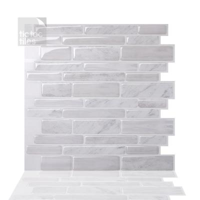 Polito White 10 in. W x 10 in. H Peel and Stick Self-Adhesive Decorative Mosaic Wall Tile Backsplash (5-Tiles)
