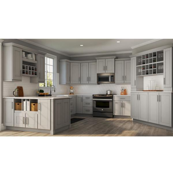 Hampton Bay Shaker Assembled 15x42x12 In Wall Kitchen Cabinet In Dove Gray Kw1542 Sdv The Home Depot