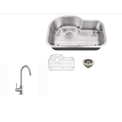 Undermount 32 in. 18-Gauge Stainless Steel Kitchen Sink in Brushed Stainless with Gooseneck Kitchen Faucet