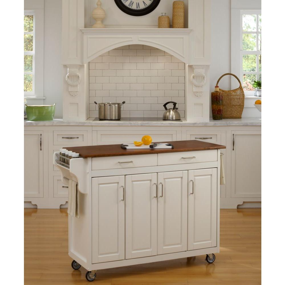 Home Styles Create A Cart White Kitchen With Towel Bar