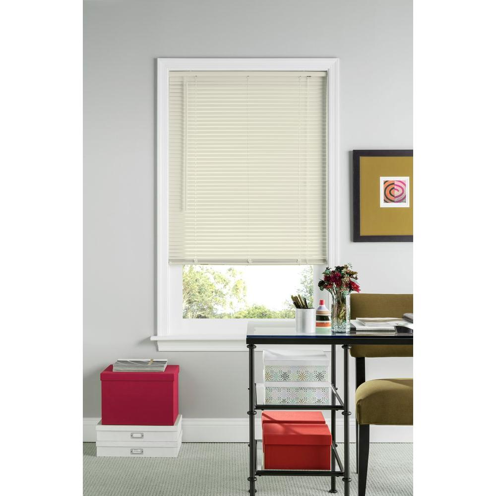 Bali Cut-to-Size Alabaster 1 in. Room Darkening Vinyl Mini Blind - 58 in. W x 48 in. L (Actual Size is 57.5 in. W x 48 in. L)